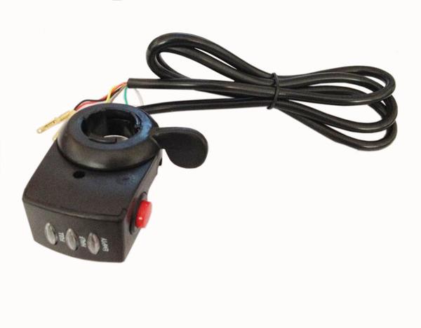 Рычаг газа для электровелосипеда на 48 Вольт с кнопкой включения